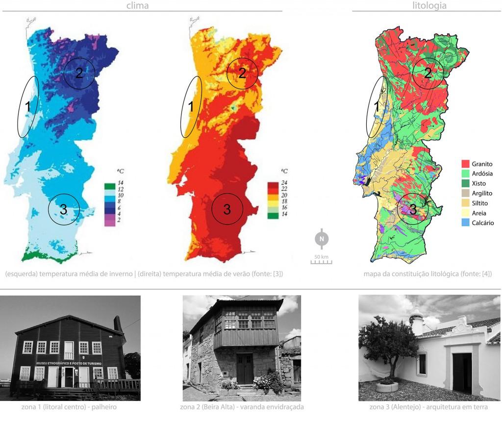 Contrastes do território português e exemplos de arquitetura vernácula das zonas em estudo
